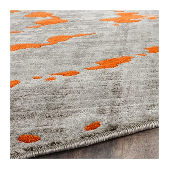 "Safavieh Porcello Collection PRL7735F Light Grey and Orange Round Area Rug (5'1"" Diameter) - The high-quality polypropylene pile fiber adds durability and longevity to these rugs The power loomed construction adds durability to this rug, ensuring it will be a favorite for many years The bright, modern style of this rug will give your room a elegant accent - living-room-soft-furnishings, living-room, area-rugs - 61Z X cGtWL. SS570  -"