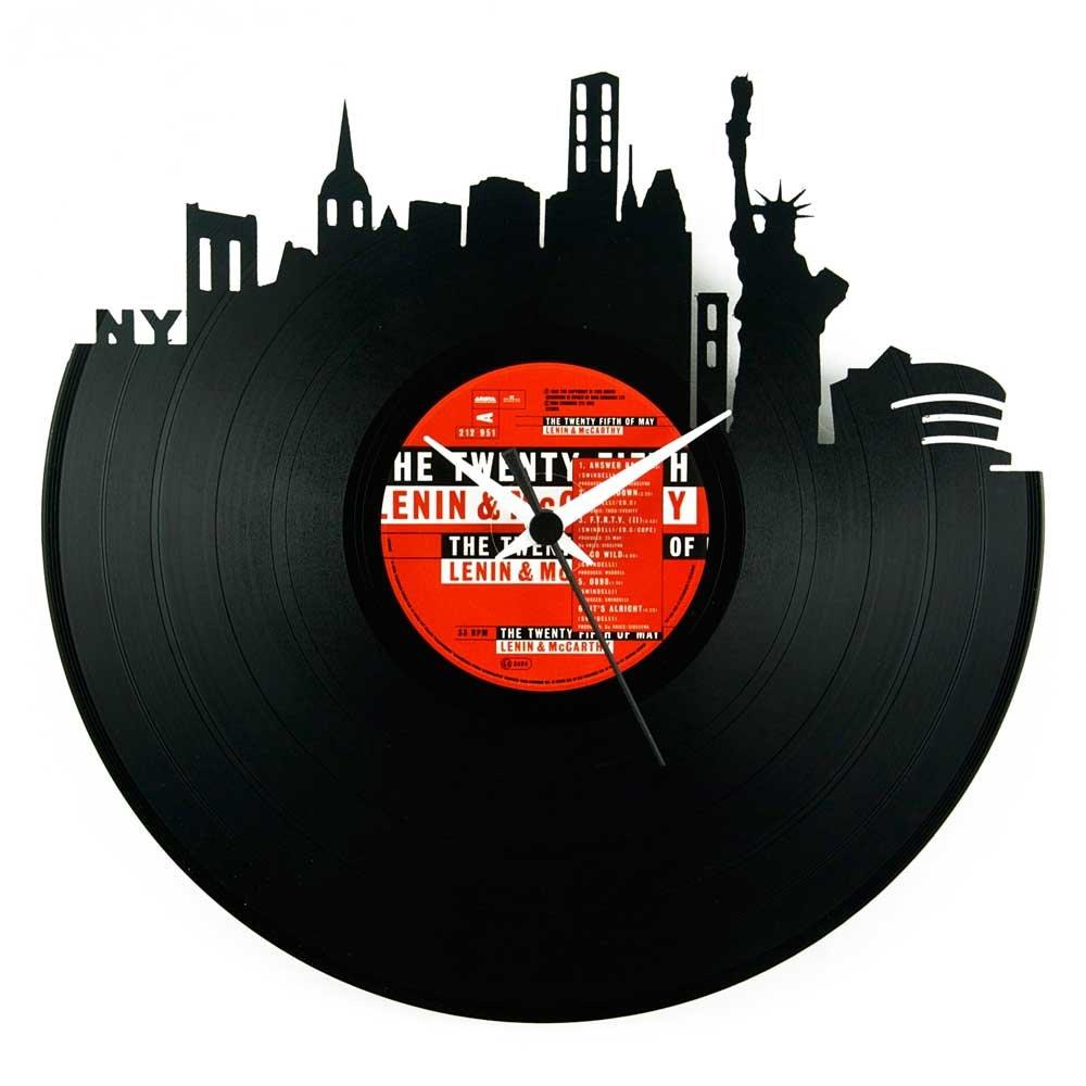 New New New York, (NY)Geschenkidee für Reise, Vinyl Schallplatten-Uhr, Schwarz, Vinyluse original 6c819b