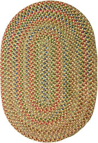 Katherine Multi Indoor/Outdoor Oval Braided Rug, 5 by 8-Feet, Camel
