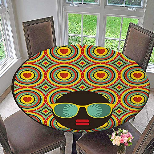 Round Fitted Tablecloth Afro Themed Woman with Glasses Ear Rings with Black Abstract Backdrop Artwork Multicolor for All Occasions 47.5