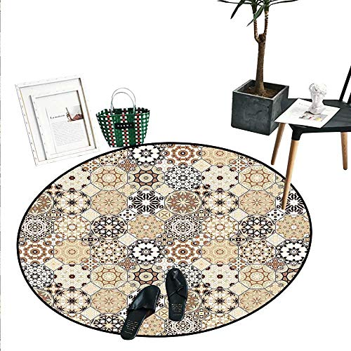 Eastern Round Small Door Mat Octagonal and Square Ornaments Retro Colored Old Fashioned Tile Indoor/Outdoor Round Area Rug (2