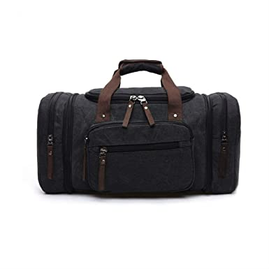 Image Unavailable. Image not available for. Color  Black Canvas Travel Tote  Luggage Large Men s Weekend Gym Shoulder Duffle Bag ... a4d919210d2b0