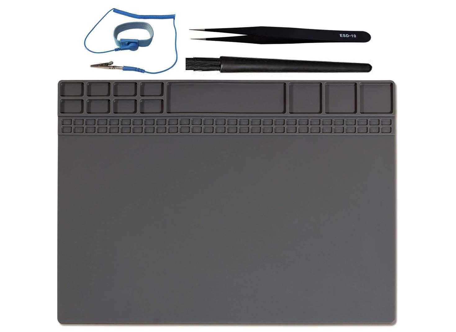 "Anti-Static Mat Work Mat Repair Work Mat and 3 Auxiliary Tools, Anti-Static Wrist and Tweezers and Brush 932°F Heat Resistant 15.9"" x 12"" inch Grey"
