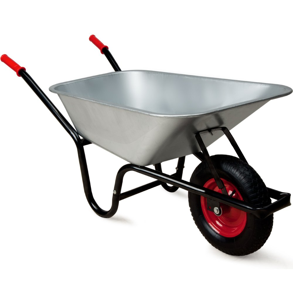 Wheelbarrow 100l Galvanized Wheel Barrow 200kg Capacity Garden Trolley Transport Cart with Metal Rim Deuba
