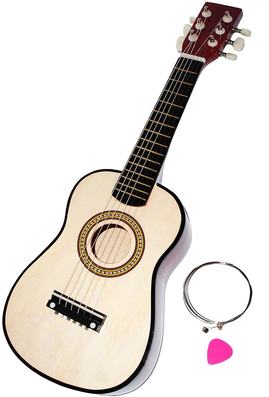 alles-meine.de GmbH Gitarre aus Holz - Konzertgitarre - Klassik - hell BRAUN / Natur - incl. Name - akustische - Kindergitarre - mit Plektrum & 6 Stück Ersatzsaiten - für Kin..