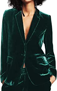 ADEWEL Womens One Button Velvet Blazer Long Sleeve Lapel Blazers Office Work Jacket Suits