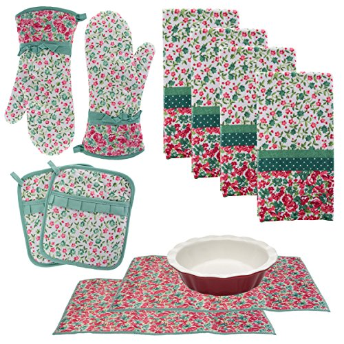 (Laura Ashley Kitchen Towels Oven Mitts Pot Holders Drying Mats Cotton Set, 10 piece)