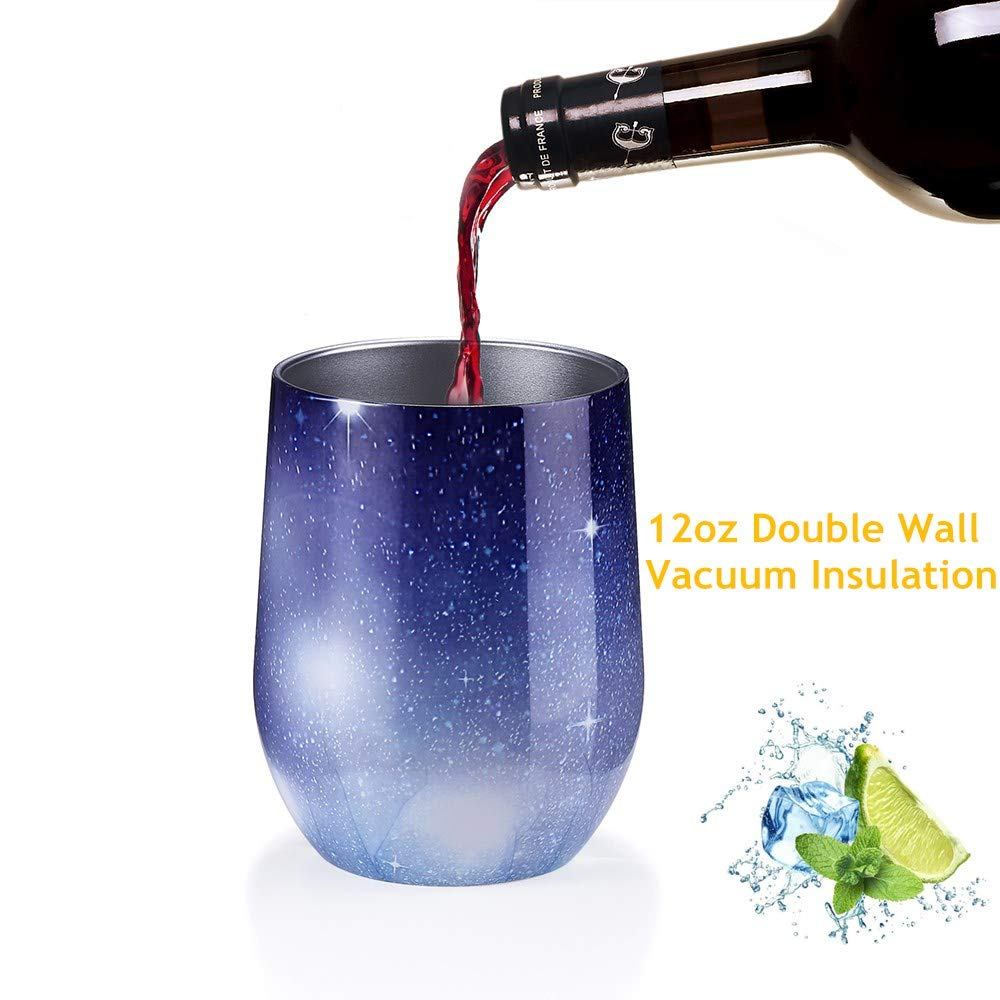 Champagne C2 Double Wall Vacuum Insulated Stainless Steel Stemless Wine Glass Travel Coffee Mug Cup for Wine 2 Pack 12 oz Wine Tumbler with Lids Drinks Include Straws /& Brush Cocktails