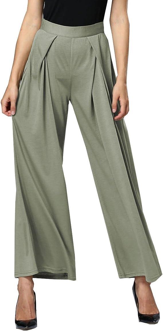 LANMWORN Mujer Pantalones Anchos Cintura Alta Casual Loose Palazzo Pantalones 6 Colores