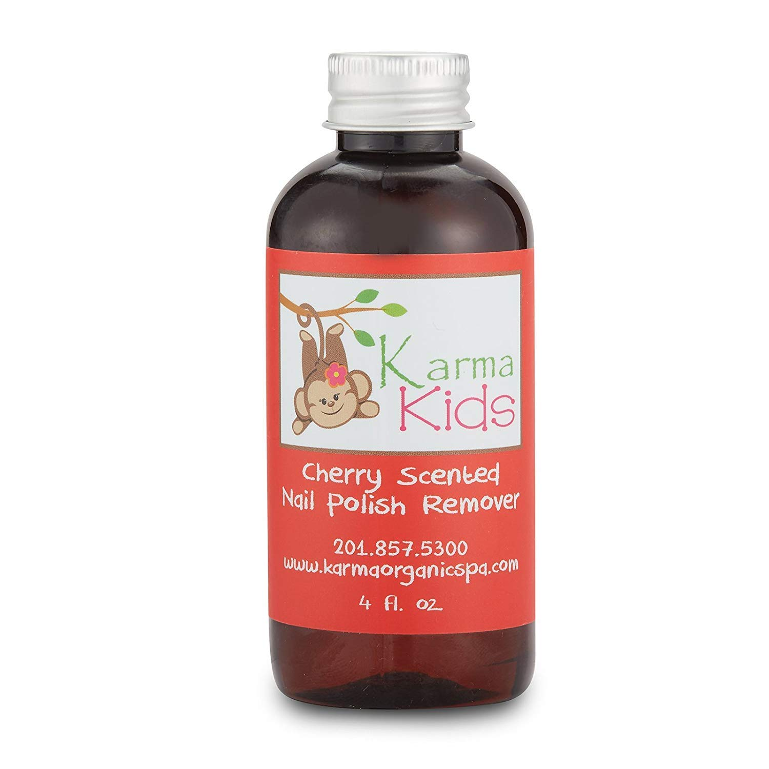 Karma Organic Natural kids nail polish remover Cherry Scented- Non Toxic, Vegan, Cruelty Free, Acetone free – Nails Strengthener for Fingernails – 4 fl. Oz.