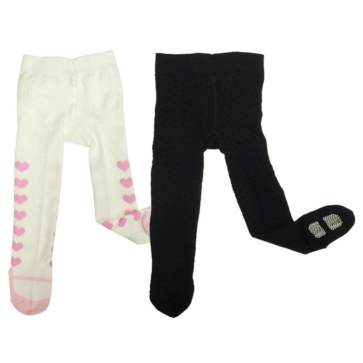 Bowbear Toddler Girl 2-Pair Non-Slip Tights Mary Janes /& Cross Pattern