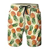 confirm vt Men's Pineapple Summer Cool Swim Trunks Beach Shorts Cargo Shorts