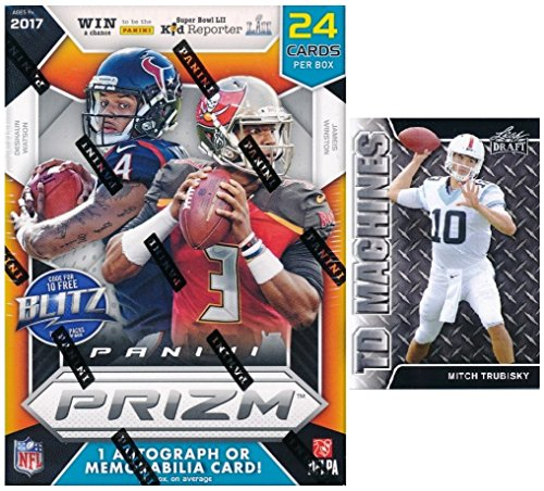 2017 Panini Prizm NFL Football EXCLUSIVE Factory Sealed Retail Box with AUTOGRAPH or MEMORABILIA! Plus BONUS 2017 Mitch Trubisky ROOKIE! Look for RC & Autographs of Deshaun Watson, Kareem Hunt & More!