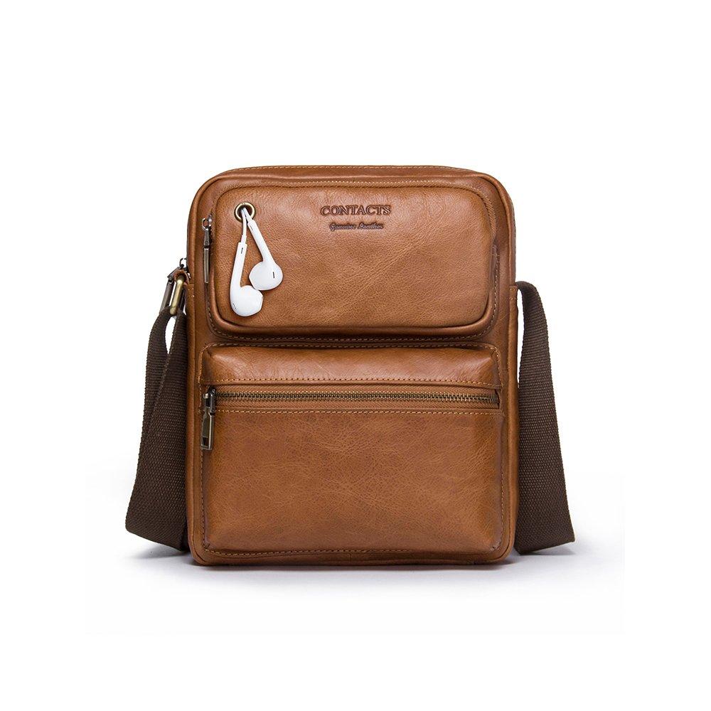 Contacts Genuine Leather Men 11'' Messenger Crossbody Shoulder Bag Travel Handbag (Brown)