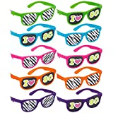 Amscan 250241 Awesome 80'S Party Assorted Color Glasses With Printed Lenses Accessory Children's-Party-Supplies, Multi Color