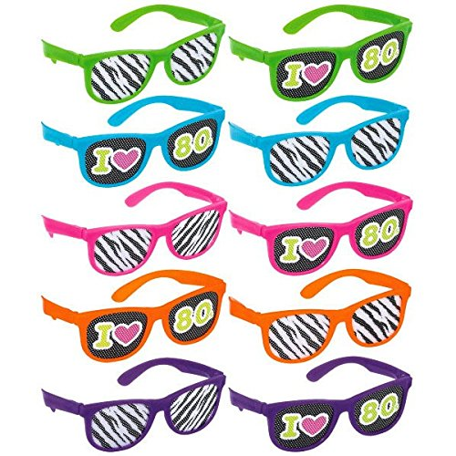 [Awesone 80's Party Assorted Color Glasses with Printed Lenses Accessory, Plastic, Standard Size, Pack of 10] (80 Costumes Ideas)