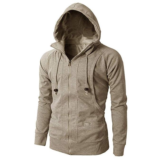 IMJONO Fashion Mens   Herbst Winter Lange Ärmel Sport Zipper Hoodie  Pullover Bluse Tops (EU-54 CN-3XL,Khaki)  Amazon.de  Bekleidung 0a530e7db1