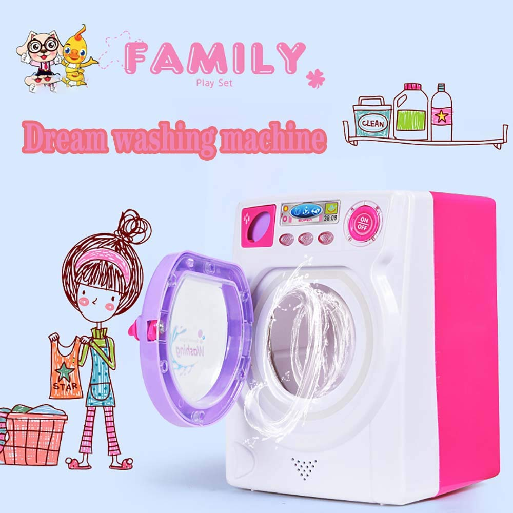 Electz Children Kids Home Washing Machine Toy, Simulate Pretend Play Washing Machine with Rotatable Roller, Real Light and Sound
