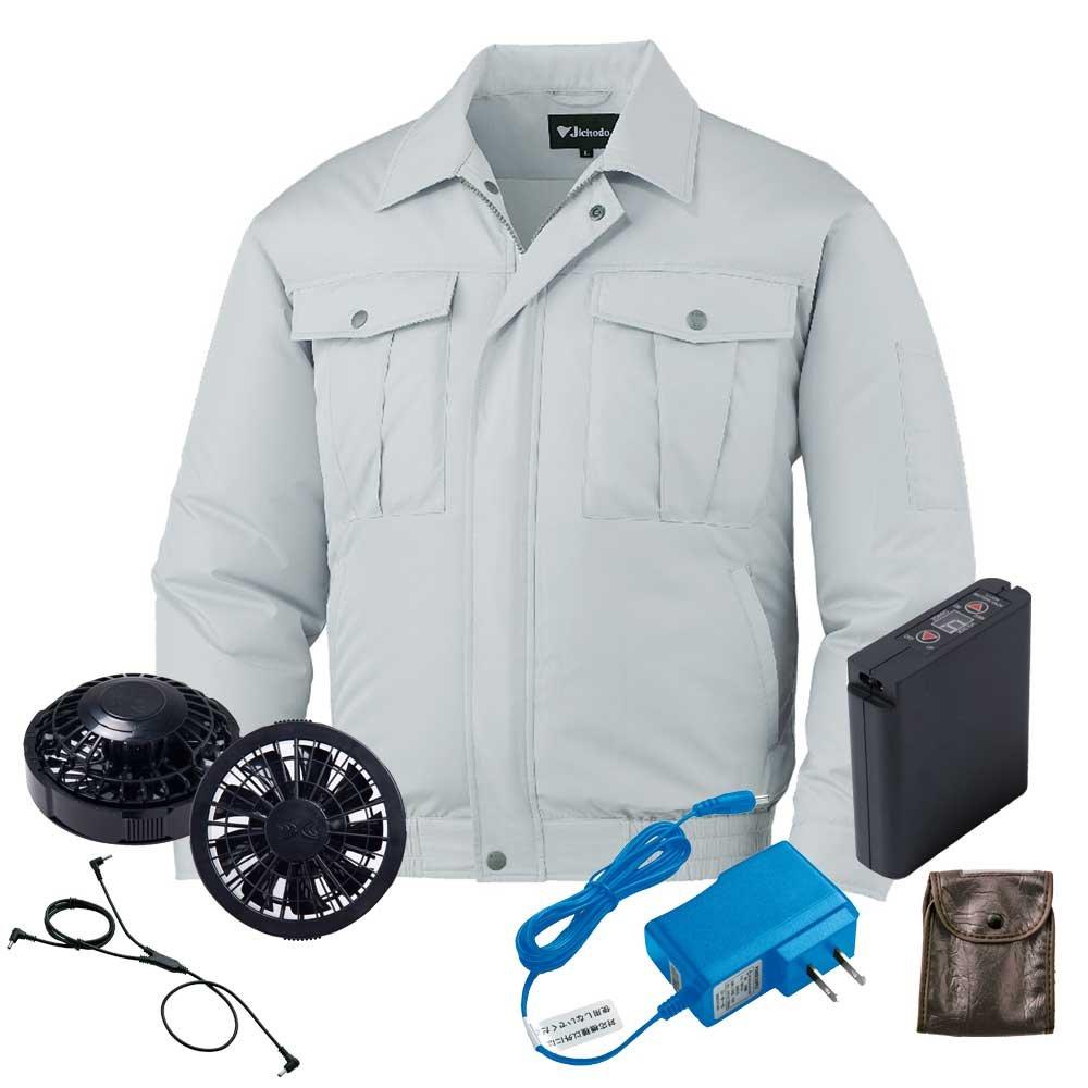 空調服 ブルゾン黒ファンバッテリーセット 87002 自重堂 B07D6X2SKP M|36シルバー 36シルバー M