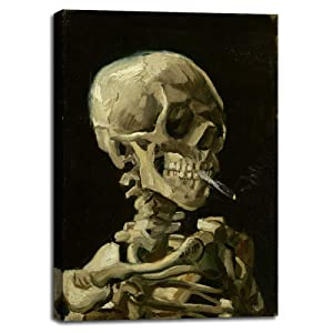 "Skull of a Skeleton with Burning Cigarette, 1886 by Vincent Van Gogh - Canvas Prints Wall Art Pictures for Living Room Artwork Paintings Poster with Frame Home Decor Ready to Hang - 20"" x 28"""