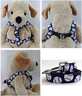 "product image for Diva-Dog 'Baseball' Custom 5/8"" Wide Dog Step-in Harness with Plain or Engraved Buckle, Matching Leash Available - Teacup, XS/S"