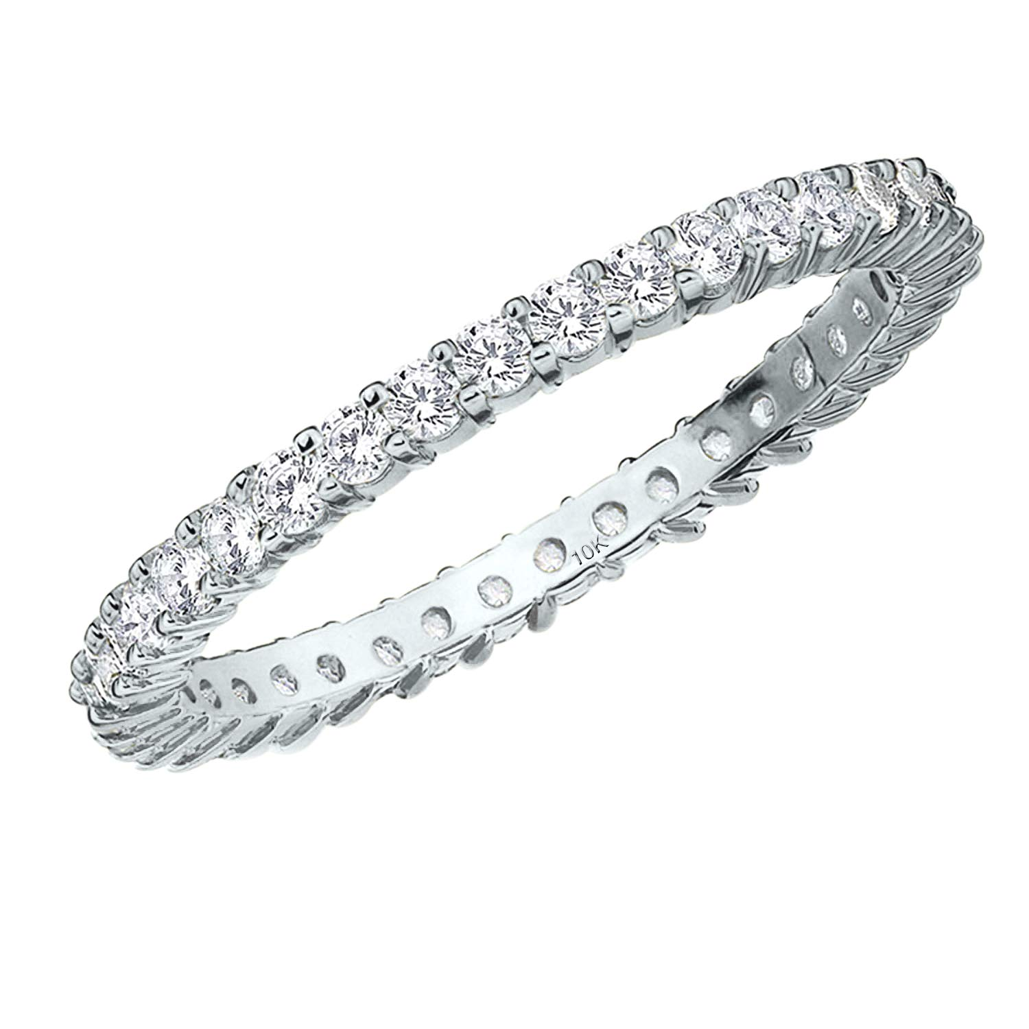 .50CT Passion Eternity Diamond Ring in 10K White Gold Shared Prong Setting - Finger Size 10