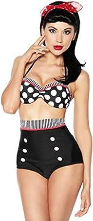 Traje de baño rockabilly clásico chica pinup,Bikini de talle alto con diseño retro; El juego incluye