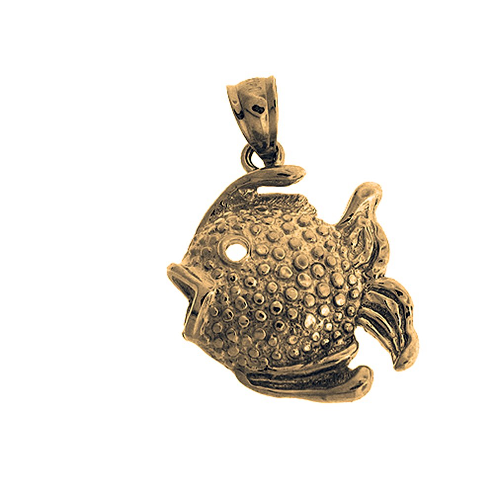 27mm Silver Yellow Plated Tropical Angelfish Charm