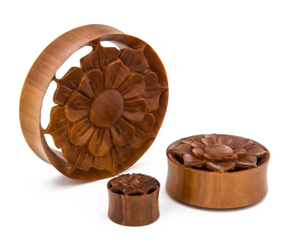 Elementals Organics Saba Wood Hollow Plugs For Ear - Ear Gauge Spring Oasis Flower Design, 34mm - Price Per 1 Earring