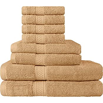 Premium 8 Piece Towel Set (Beige); 2 Bath Towels, 2 Hand Towels and 4 Washcloths - Cotton - Machine Washable, Hotel Quality, Super Soft and Highly Absorbent by Utopia Towels