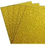 Easy Weed Glitter Heat Transfer Vinyl HTV Bundle for T Shirts, 12x10 inch, Sheets 5pack(Gold)