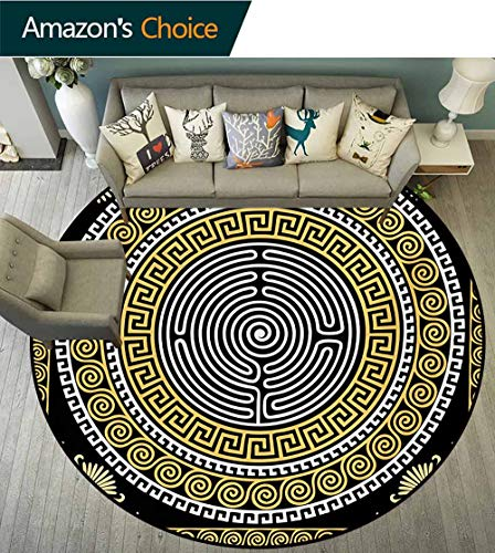 Greek Key Modern Machine Round Bath Mat,Classical Pattern With Intricate Design Spiral Waves Frame And Maze Non-Slip No-Shedding Kitchen Soft Floor Mat,Diameter-63 Inch Pale Yellow White Black ()