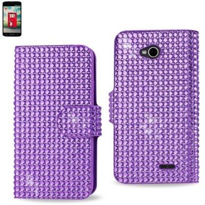 Reiko LG L70, LG Realm LS620 Diamond Flip Case - Retail Packaging - Purple