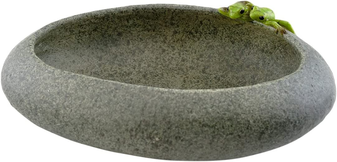 Top Collection Garden Frogs On Long Functional Stone Flower Pot Planter Figurine