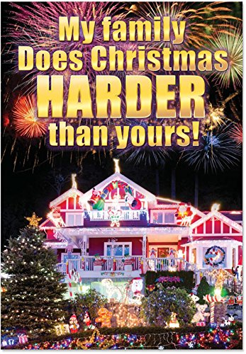 "1834 'Christmas Harder Than You' - Funny Merry Christmas Greeting Card with 5"" x 7"" Envelope by NobleWorks"