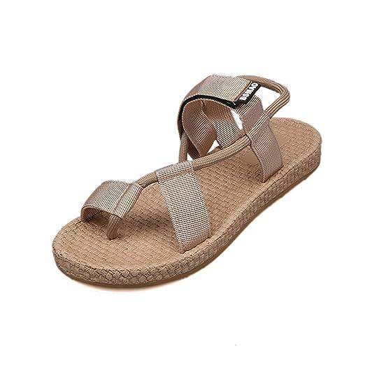 22cf97dccbf JJLIKER Women Clip Toe Slip On Flat Sandals Ankle Stretch Fabric Flip Flops  Summer Comfort Non