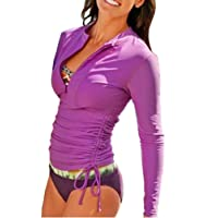 SailBee Women's Long Sleeve Rash Guard Wetsuit Swimsuit Top UV Sun Protection