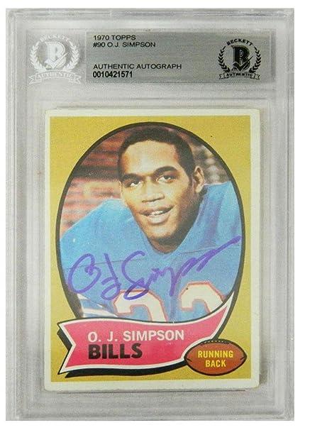 1d5cd08ea O.J. Simpson Signed Buffalo Bills 1970 Topps Rookie Card #90 (Beckett  Encapsulated) -