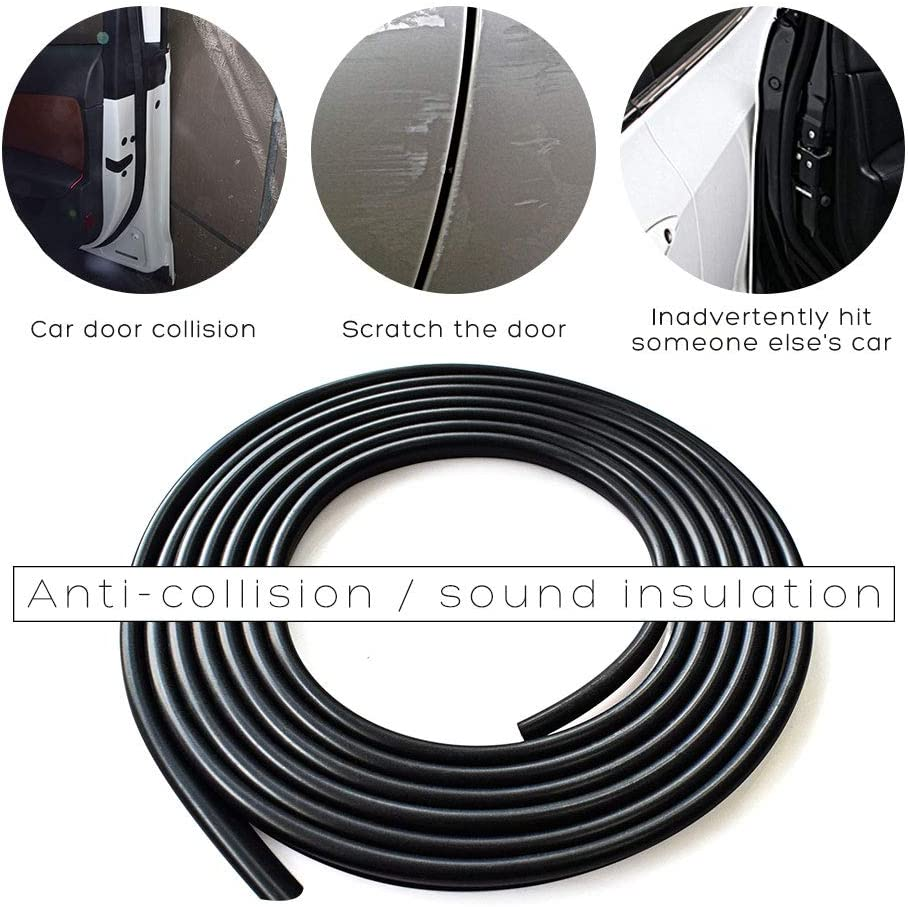 5m Black Door Edge Protect Trim Molding D.I.Y Ceyes Door Edge Guard Lining 16Ft U Shape Rubber Seal Protect Strip for Car Door Trunk Engine Cover