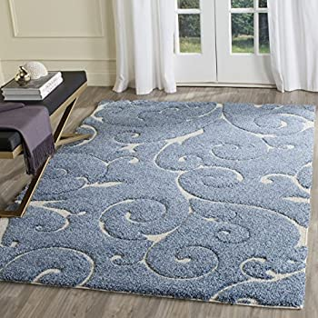 "Safavieh Florida Shag Collection SG455-6011 Scrolling Vine Light Blue and Cream Graceful Swirl Area Rug (53"" x 76"")"
