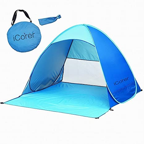 iCorer Automatic Pop Up Instant Portable Outdoors Quick Cabana Beach Tent Sun Shelter Blue  sc 1 st  Amazon.com : beach tent for baby uv protection - memphite.com