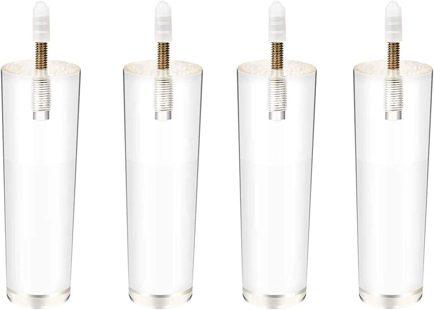 4 Inch/10cm Acrylic Furniture Legs,4PCS Tapered Clear Glass DIY M8 Replacement Furniture Feet With Pre-Drilled 5/16 Inch Bolt & Mounting Plate & Screws For Bookcase Table Cabinet ( Size : 5