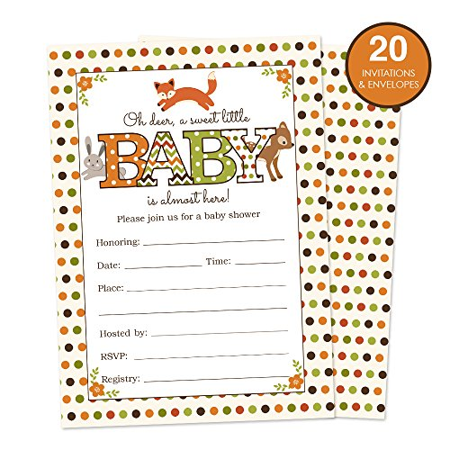 Woodland Animals Baby Shower Invitations Fill In Style 20 Count - Cute Fall Colors with a Fox, Deer and Rabbit - Perfect for a Gender Neutral Baby Shower