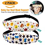 Packs of 2 Baby Kids Safety Head Support Band, Donier Comfortable Pram Stroller Safety Seat Fastening Belt, Safety Belt Protector Headrest Neck Support for Children Baby (Bear)