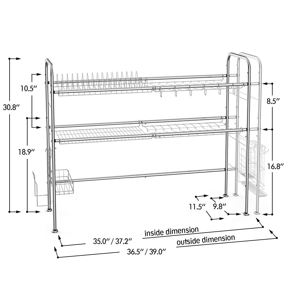 NEX 2-Tier Drying Rack for Kitchen Stainless Steel Dish Dryer Length Adjustable, Silver by NEX (Image #2)
