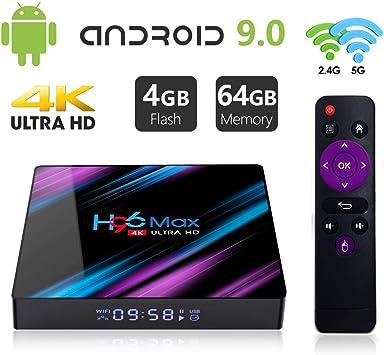 Android 9.0 TV Box 【4GB RAM 64GB ROM】H96 MAX RK3318 Quad-Core 64bit Android TV Box, Wi-Fi-Dual 5G/2.4G, BT 4.0, 4K*2K UHD H.265, USB 3.0 Smart TV Box: Amazon.es: Electrónica