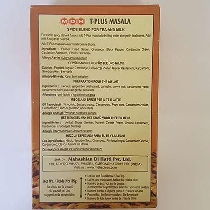 MDH Tea Masala - T-Plus 35 g: Amazon.es: Alimentación y bebidas
