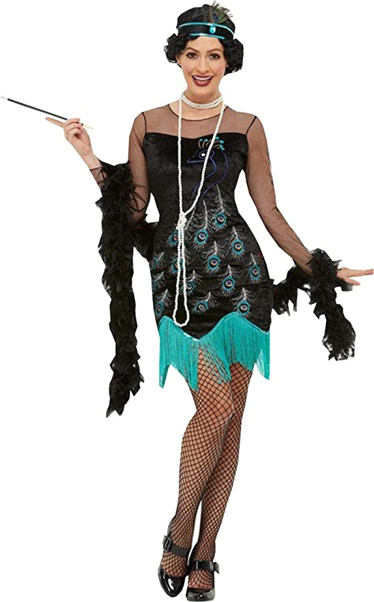 Roaring 20s Costumes- Flapper Costumes, Gangster Costumes Smiffys Ladies Fancy Dress Party 20s Peacock Flapper Costume $65.99 AT vintagedancer.com