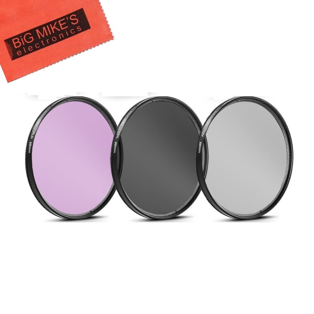 58mm Multi-Coated 3 Piece Filter Kit (UV-CPL-FLD) For Olympus M.Zuiko 40-150mm f/4.0-5.6 R Micro ED Digital Zoom Lens + MicroFiber Cleaning Cloth by Big Mike's