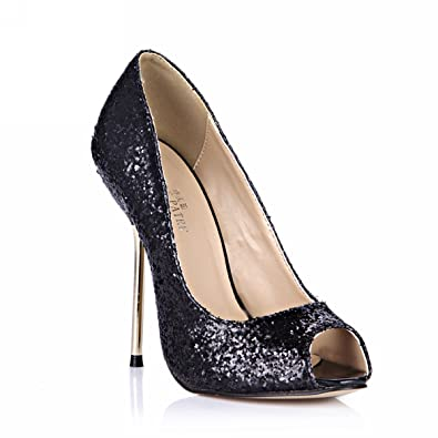 eda6fa387d6c Peep Toe Club Pumps Stiletto Evening Party High Heels Women Dolphin Girl  Cute Black Glitter Prom